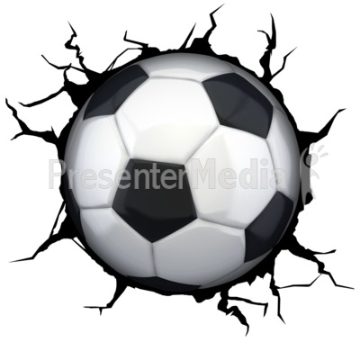 Crack Wall Soccerball Presentation clipart