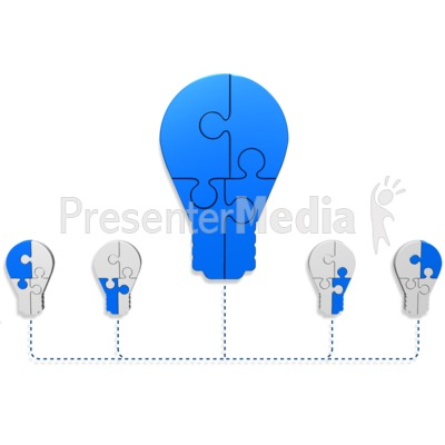 Light Bulb Puzzle Build Diagram Presentation clipart