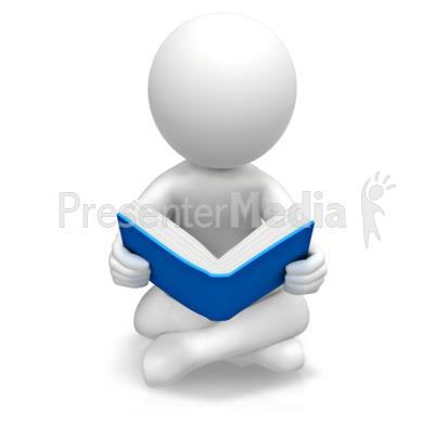 Figure Sitting Reading Book Presentation clipart