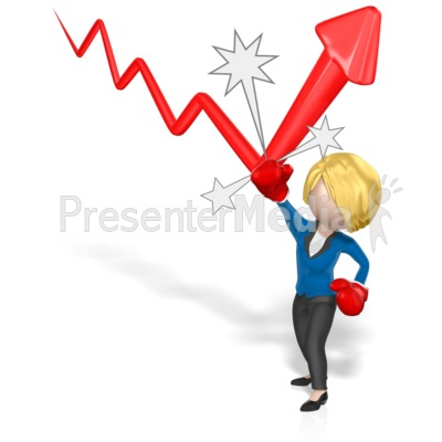 Business Woman Punch Arrow Presentation clipart