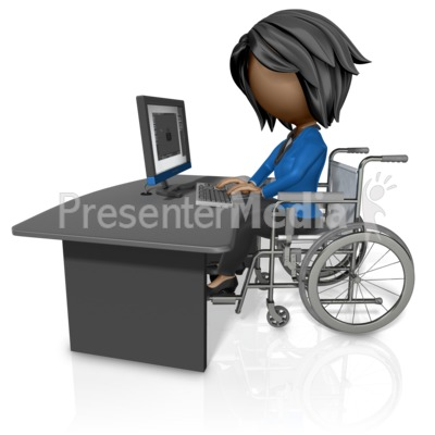 Woman In Wheelchair Working At Desk Presentation clipart