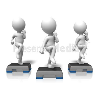 Cardio Step Exercise Group Presentation clipart