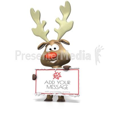 Reindeer Holding Sign Presentation clipart