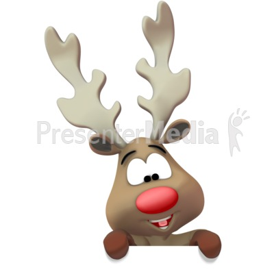 Reindeer Presenting Below Presentation clipart