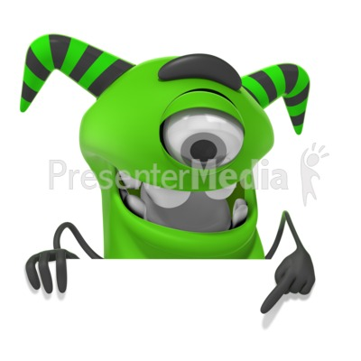 M Monster Pointing Down Presentation clipart