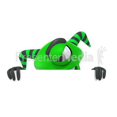 Monster Hiding Behind Wall Presentation clipart