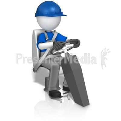 Worker In Seat Behind Wheel Presentation clipart