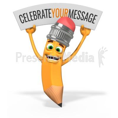 Scribbles Pencil Celebration Sign Presentation clipart
