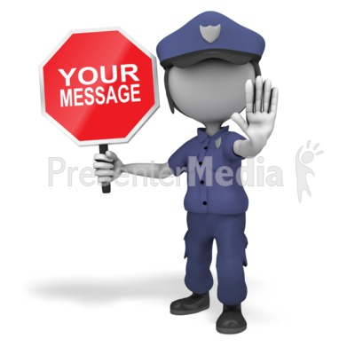 Police Officer Stop Sign Presentation clipart