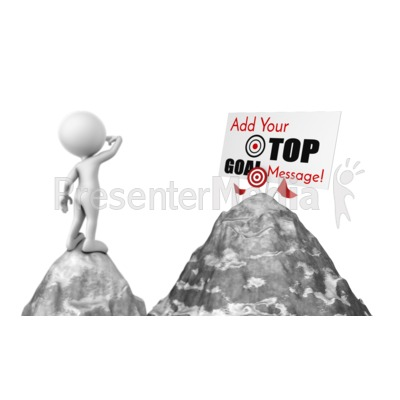 Figure Looking At Mountain Top Sign Presentation clipart