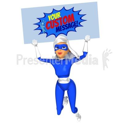 Supergal Flying Sign Custom Presentation clipart