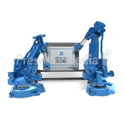 Robot Arms Attach Sign Presentation clipart