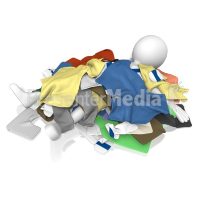 Figure Under Pile Clothes Presentation clipart