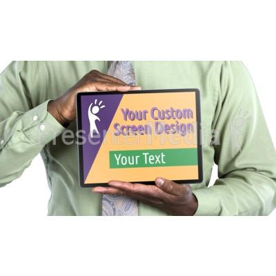 Jake Holds Tablet Horizontal Custom Presentation clipart