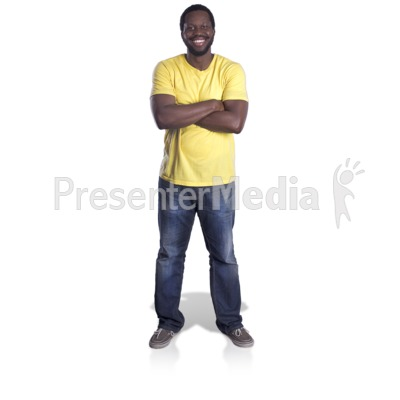 Man Standing Arms Crossed Presentation clipart