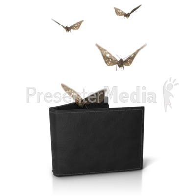 Wallet Moths Flying Out Presentation clipart