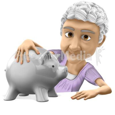 Old Bernice Holding Piggy Bank Presentation clipart