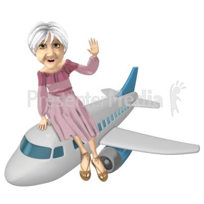 Martha Riding Airplane Presentation clipart