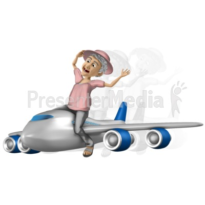 Bernice Travel On Airplane Presentation clipart