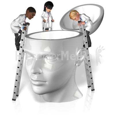 Doctors Explore Inside Head Presentation clipart