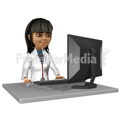 Doctor Kim At Desk Working Presentation clipart