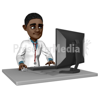 Doctor Ethan At Desk Working Presentation clipart