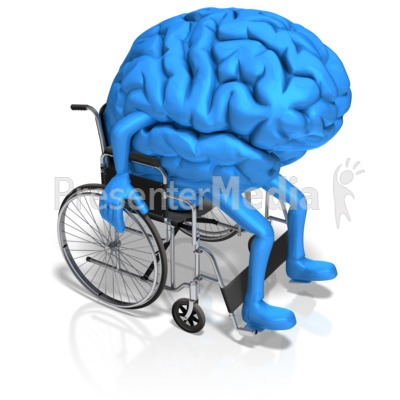 Brain Character In Wheelchair Presentation clipart