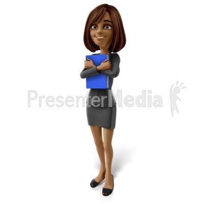 Talia Standing Holding Book Presentation clipart