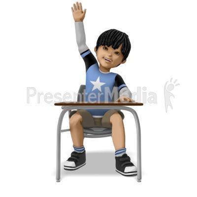 Boy Raising Hand At Desk Presentation clipart