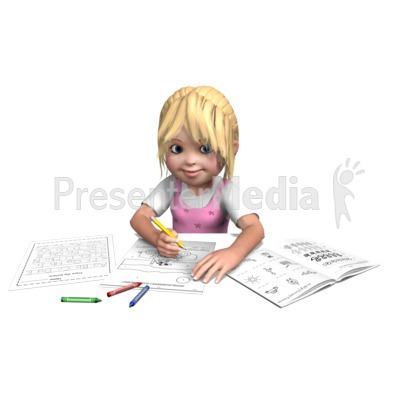 Sally Doing Homework Presentation clipart