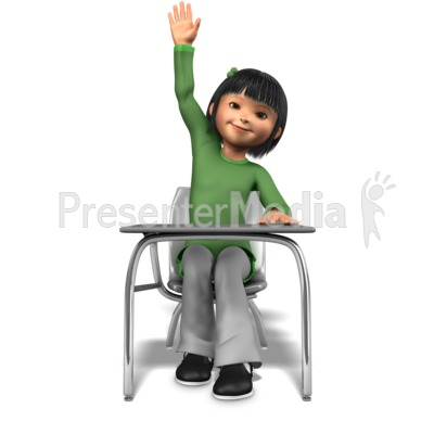 Girl Raising Hand At Desk Presentation clipart
