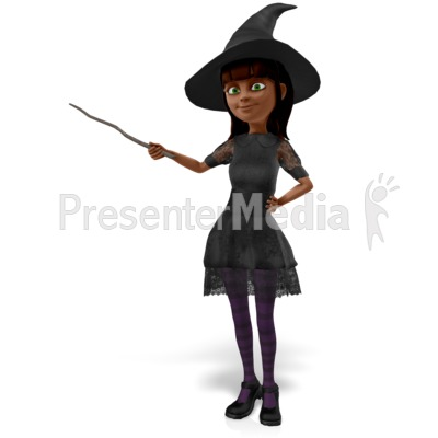 Nice Witch Presenting To The Side Presentation clipart