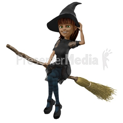 Nice Witch Riding Broom Presentation clipart