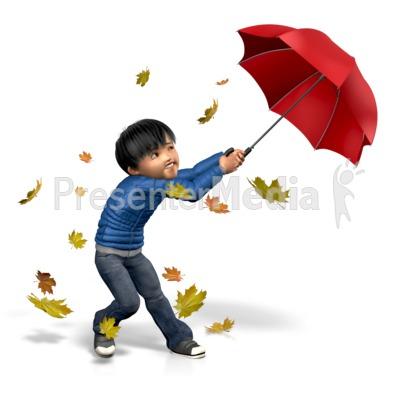 James Windy Umbrella Presentation clipart