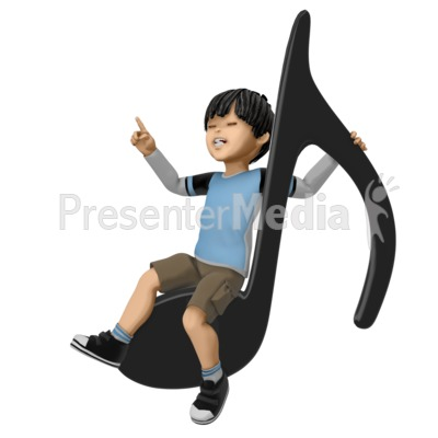 James Sitting On Giant Note Presentation clipart