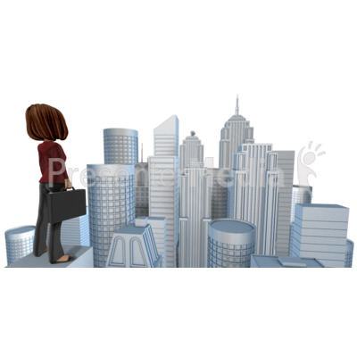 Talia Looking Out Over City Presentation clipart