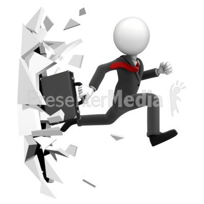 Break Through Figure Presentation clipart