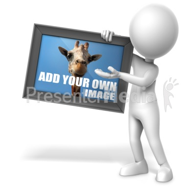 Figure Holding Picture Presentation clipart