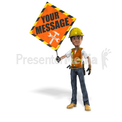 Construction Worker Holding Sign Presentation clipart