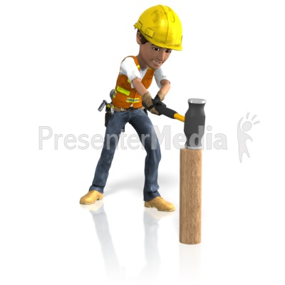 Construction Guy Sledgehammer Presentation clipart