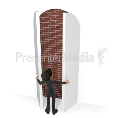 Businessman Door Brick Wall Presentation clipart