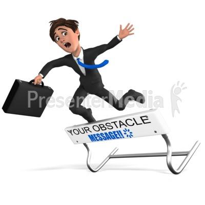 Businessman Hurdle Fail Presentation clipart