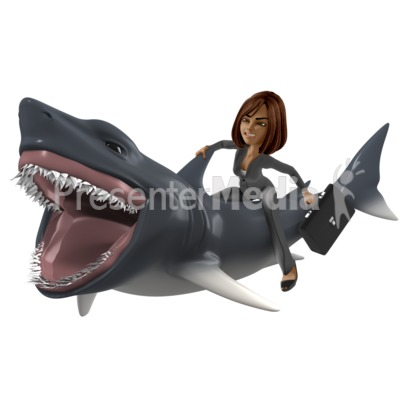 Businesswoman Shark Presentation clipart