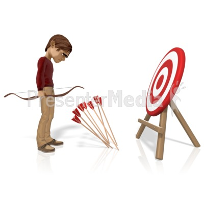 Man Miss Target With Arrows Presentation clipart