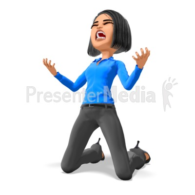 Business Woman On Knees In Despair Presentation clipart