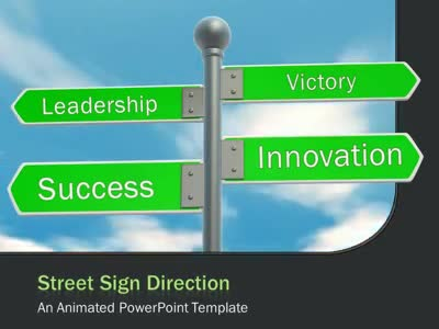 street sign direction a animated powerpoint template from. Black Bedroom Furniture Sets. Home Design Ideas