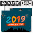 Happy New Year City Fireworks PowerPoint Template