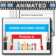 Hands Holding Letters And Signs PowerPoint Template