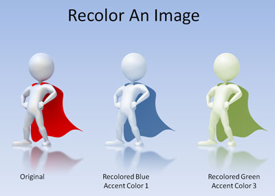 Recolored images in PowerPoint