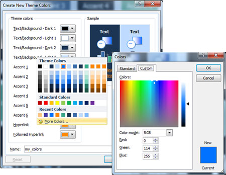 Custom Color Panel in PowerPoint